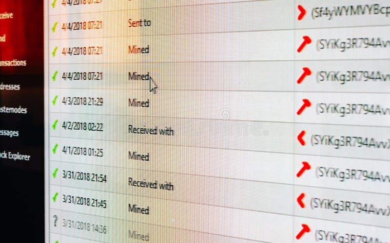 Naher hoher Schuss des Stilllebens des Bildschirms des digitalen Schlüssel-wa stockbilder