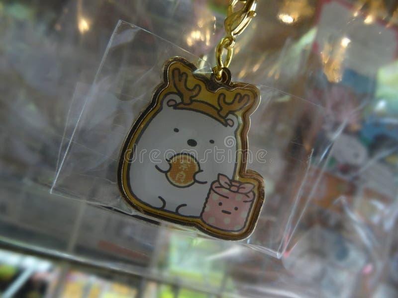 Nahes hohes Bild eines lustigen japanischen Schlüsselanhängers lizenzfreies stockfoto