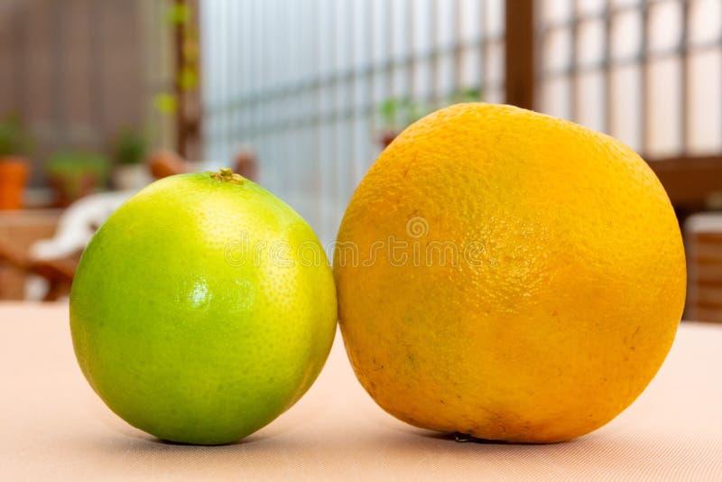 Nahes hohes der Orange und der Zitrone lizenzfreie stockfotos