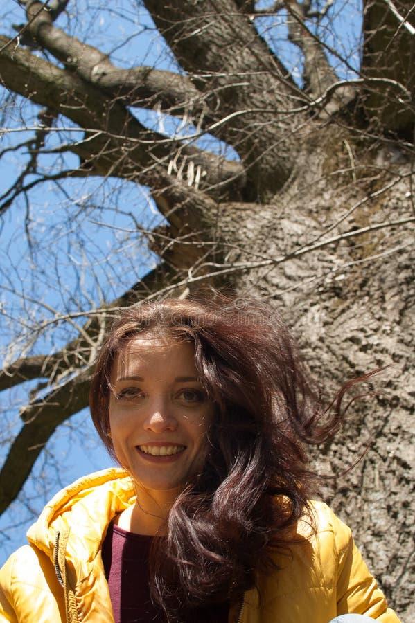Nahes hohes outdoos Porträt des jungen smilling Mädchens in der gelben Jacke, die nahe großem altem Baum im Park während des sonn stockfotos
