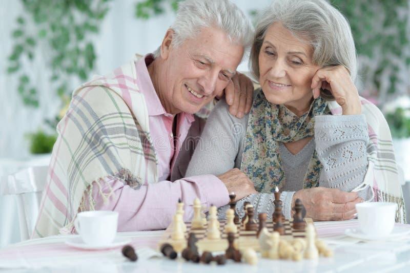 Nahes hohes Porträt von den glücklichen älteren Paaren, die zusammen Schach spielen lizenzfreies stockfoto