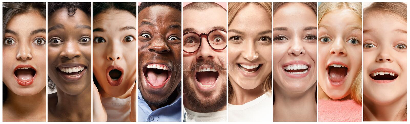 Nahes hohes Porträt von jungen Leuten voll des Ausdrucks stockbilder