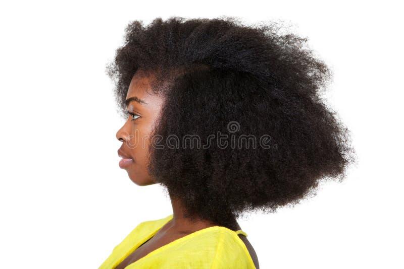 Nahes hohes Profilporträt der attraktiven jungen schwarzen Frau mit dem Afrohaar stockfotografie