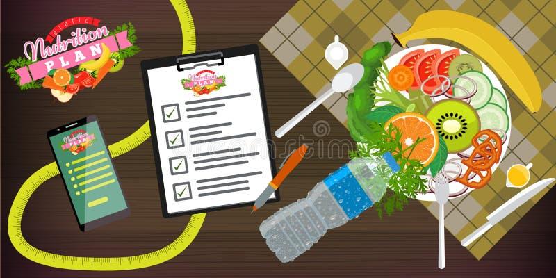Nahrung, Di?t, gesunder Lebensstil und Gewichtsverlustkonzeptfahnenschablone Ein Teller des Salats, des Smartphone und des Di?tpl vektor abbildung