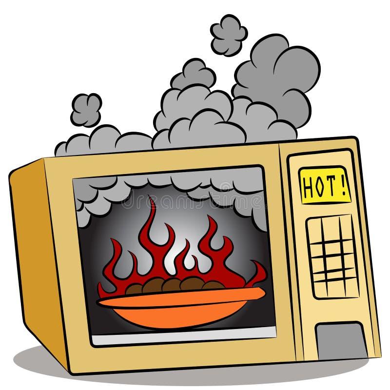Nahrung, die im Mikrowellenherd brennt lizenzfreie abbildung