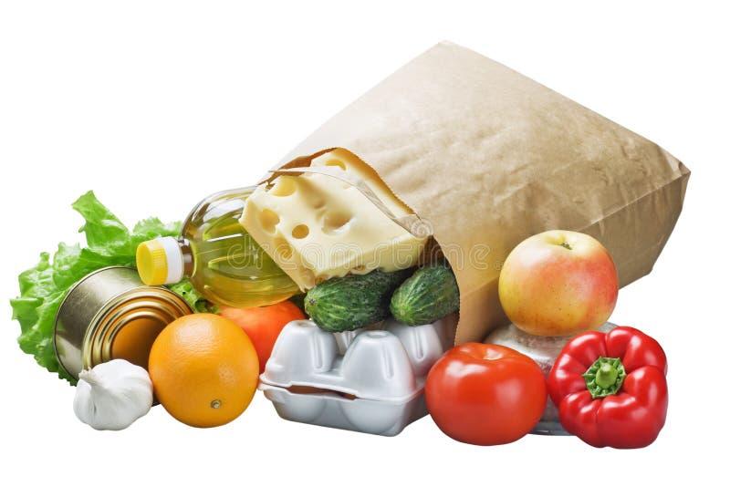 Nahrung in einem Papierbeutel lizenzfreie stockfotos