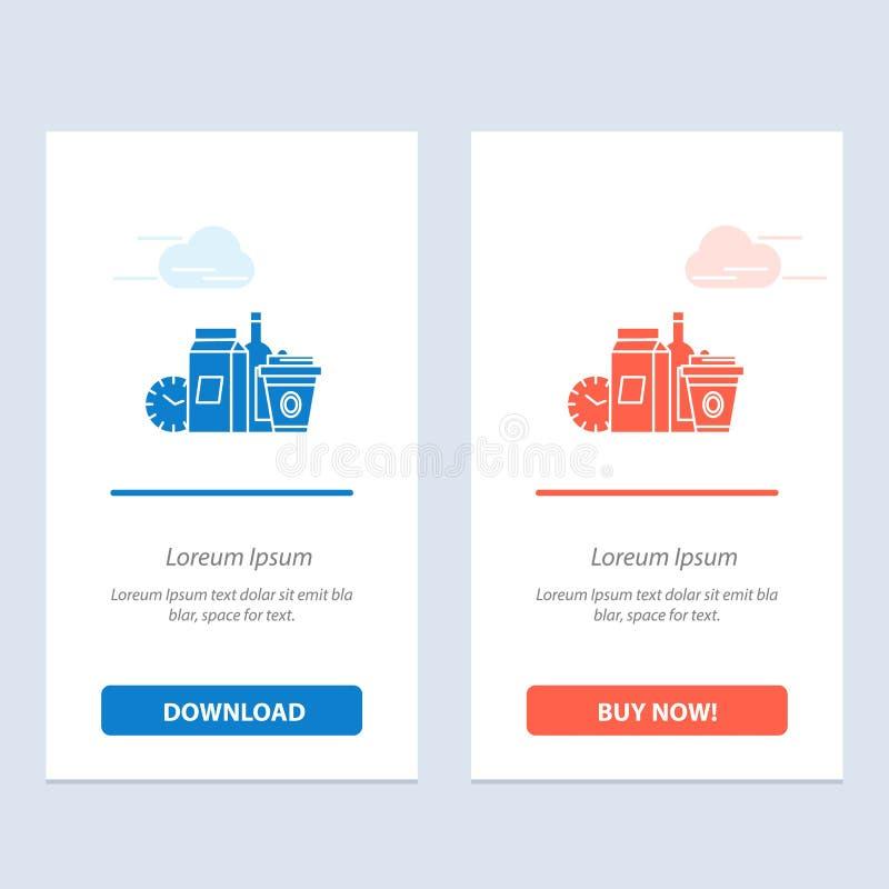 Nahrung, Einzelteile, Milch, Einzelteile, Kaffee-Blau und rotes Download und Netz Widget-Karten-Schablone jetzt kaufen stock abbildung