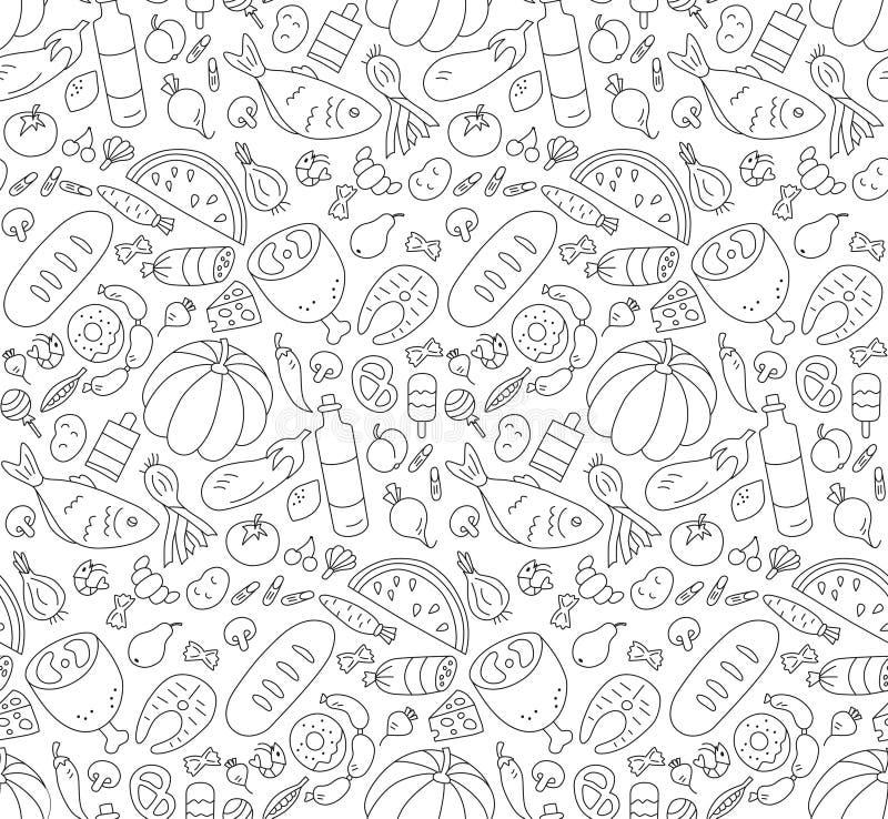 Nahrung Nahtloses Schwarzweiss-Muster in der Gekritzel- und Karikaturart umreiß vektor abbildung