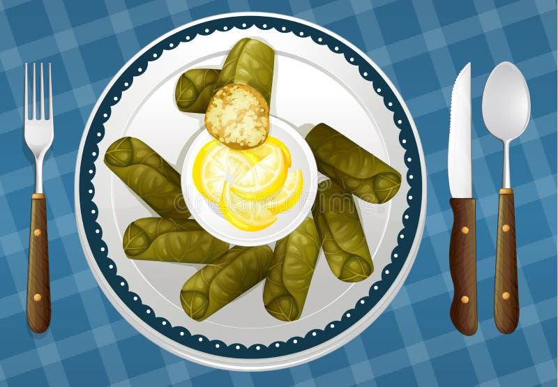 Nahrung und ein Teller stock abbildung
