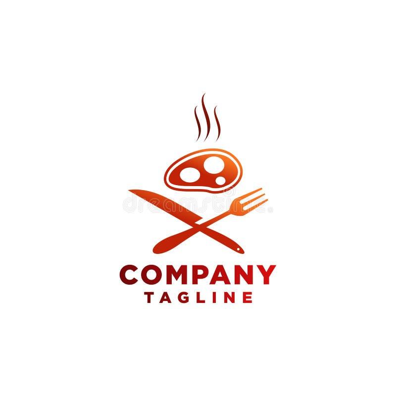 Nahrung und Getränk Logo- oder Restaurantsymbol für Café und irgendein Geschäft stock abbildung