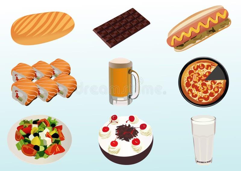 Nahrung und Getränke lizenzfreie abbildung