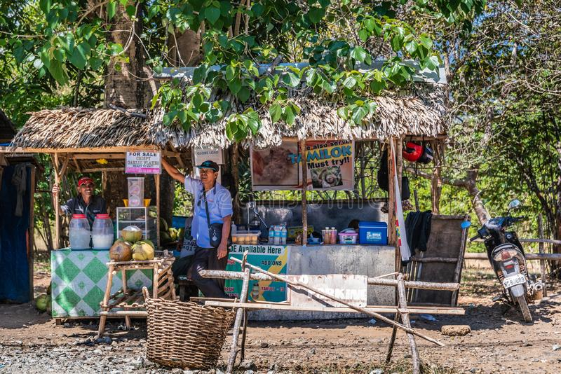 Nahrung und Getränkstand in Puerto Princesa, Palawan, Philippinen stockbild