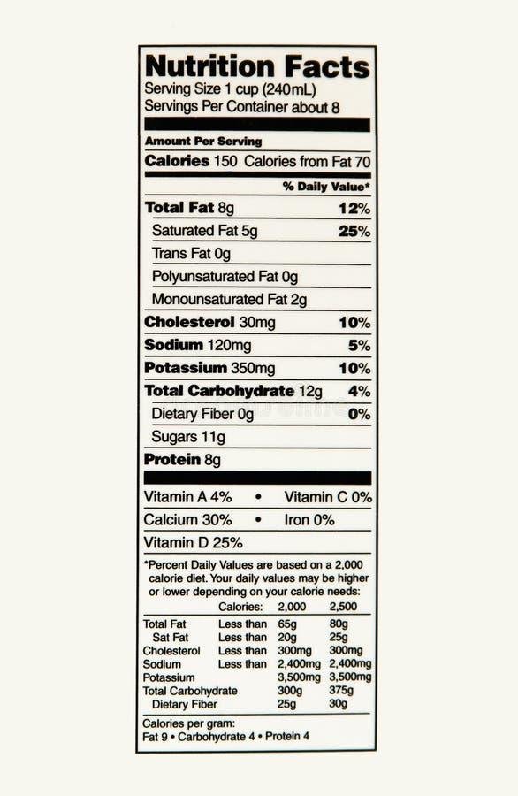 Nahrungs-Tatsachen der Vollmilch stockfotos
