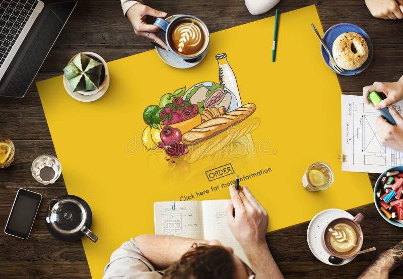 Nahrungsmittel-Bestellungs-on-line-Lieferungs-Konzept lizenzfreie stockbilder