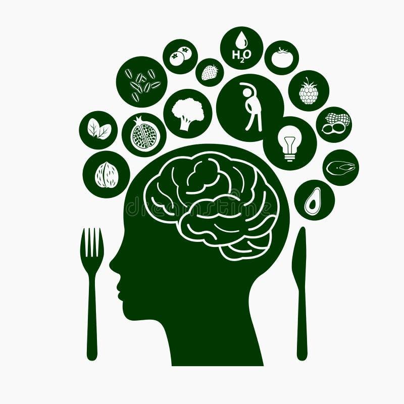 Nahrungsmittel für gesundes Gehirn lizenzfreie abbildung