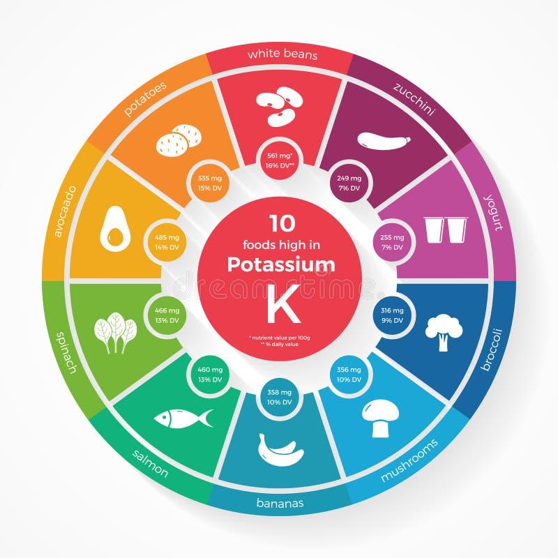 10 Nahrungsmittel hoch im Kalium Nahrung infographics lizenzfreie abbildung
