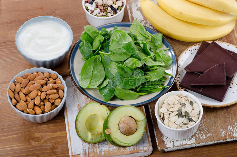 Nahrungsmittel hoch im Magnesium stockbilder