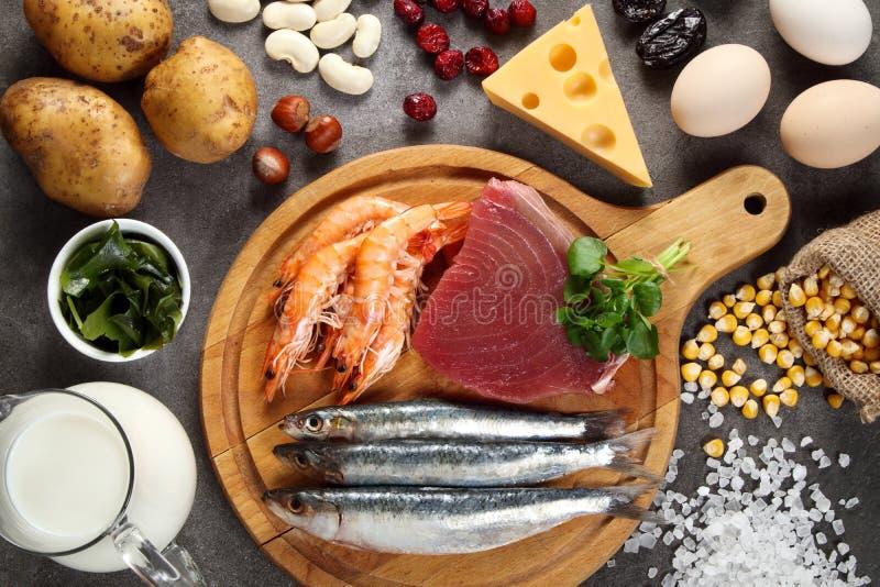 Nahrungsmittel reich im Jod stockfoto