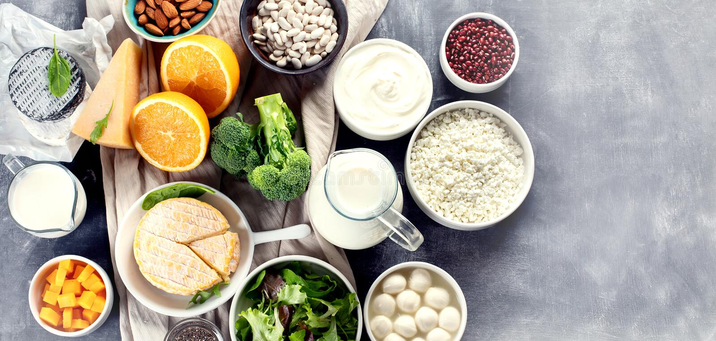 Nahrungsmittel reich im Kalzium lizenzfreie stockfotografie
