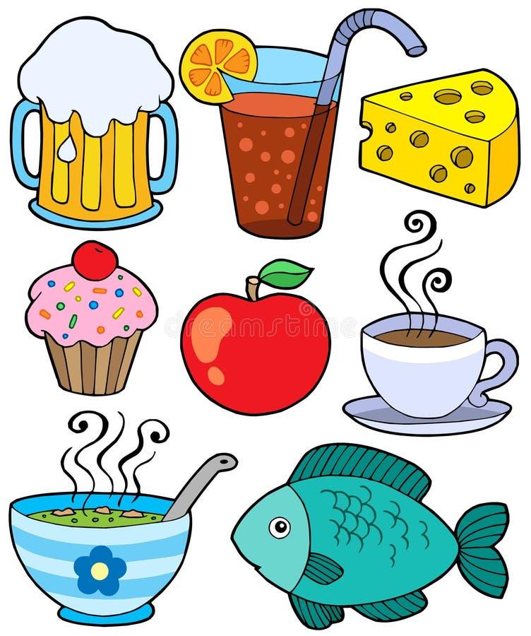 Nahrungsmittel- und Getränkansammlung 1 lizenzfreie abbildung