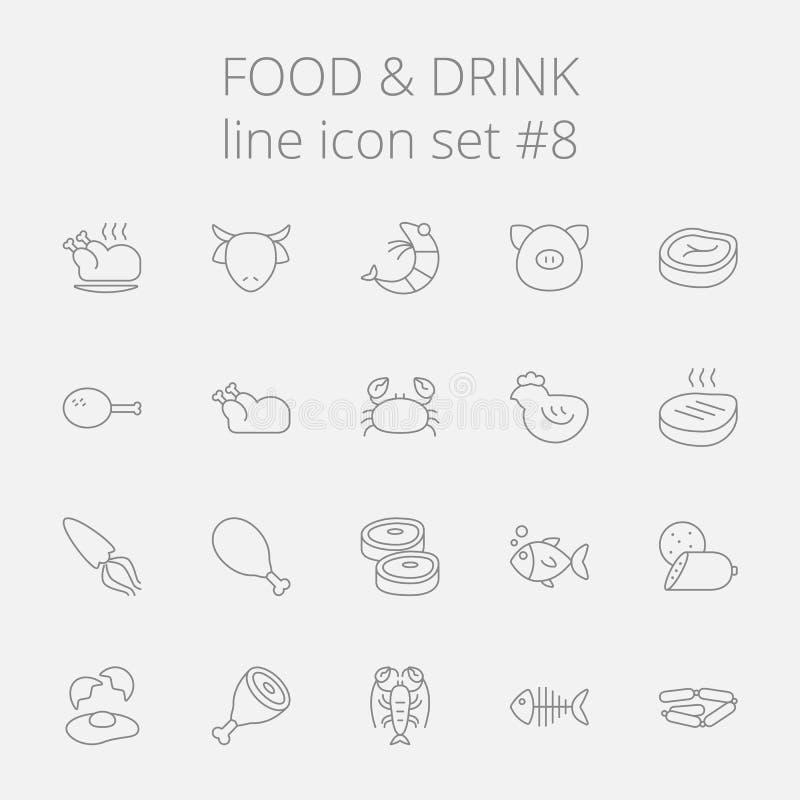 Nahrungsmittel- und Getränkikonenset vektor abbildung