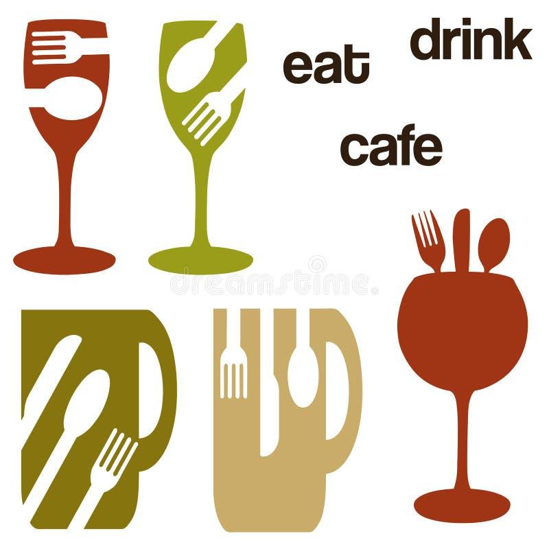 Nahrungsmittel- und Getränkkonzeptgraphiken stock abbildung