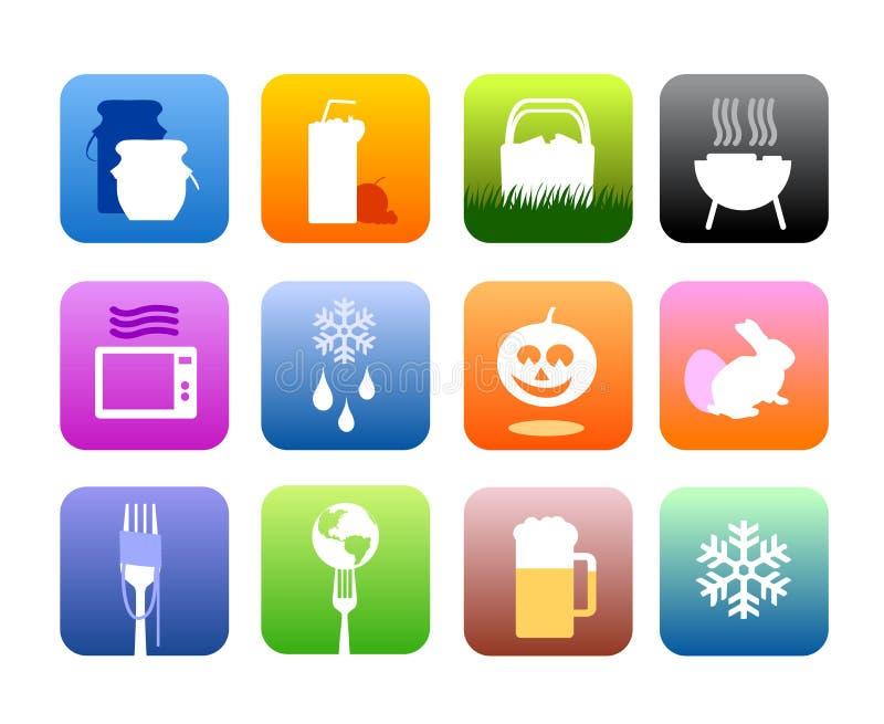Nahrungsmittel- und Kücheikonen vektor abbildung