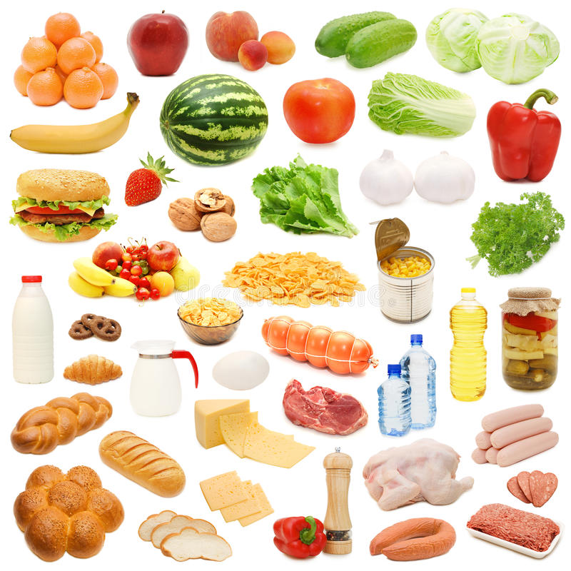 Nahrungsmittelansammlung getrennt auf weißem Hintergrund stockfotos