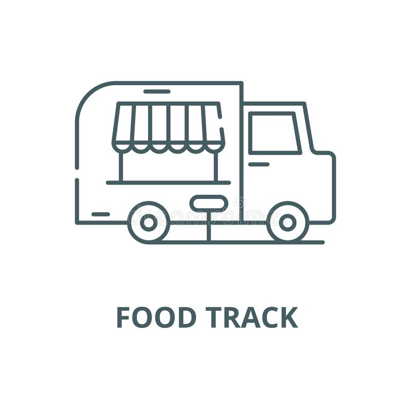 Nahrungsmittelbahn-Vektorlinie Ikone, lineares Konzept, Entwurfszeichen, Symbol vektor abbildung