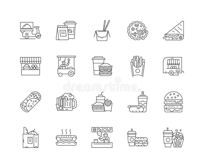 Nahrungsmittelbahnlinie Ikonen, Zeichen, Vektorsatz, Entwurfsillustrationskonzept lizenzfreie abbildung