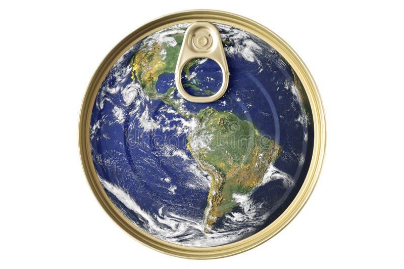 Nahrungsmittelblechdose- und Erdekonzept lizenzfreies stockfoto