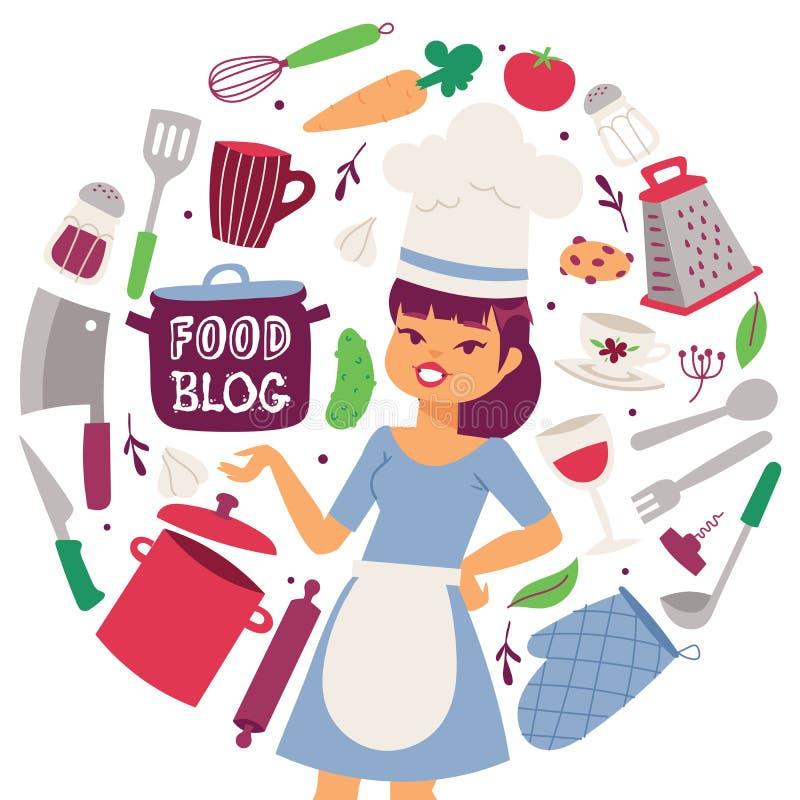 Nahrungsmittelblog-Vektorillustration Kochende Geräte und Restaurantgerät- und -nahrungsmittelhintergrund Weiblicher Koch in der  lizenzfreie abbildung