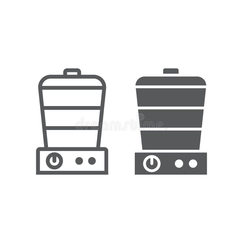 Nahrungsmitteldampferlinie und Glyphikone, elektrisch und Küche, Küchengeschirrzeichen, Vektorgrafik, ein lineares Muster stock abbildung