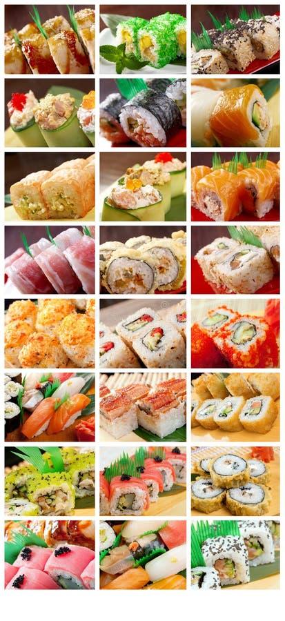Nahrungsmittelgesetzte japanische Küche - Sushi-Rolle lizenzfreies stockfoto