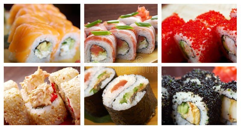 Nahrungsmittelgesetzte japanische Küche - Sushi-Rolle lizenzfreie stockfotografie