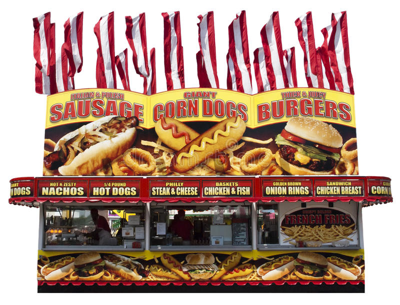 Nahrungsmittelhotdog-Burger-Zugeständnis-Standplatz getrennt lizenzfreies stockbild