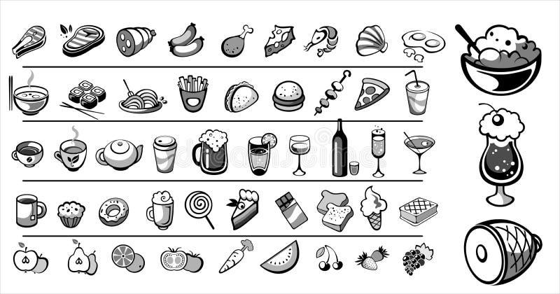 Nahrungsmittelikonen-vektorsammlung stock abbildung
