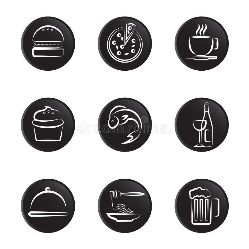 Nahrungsmittelikonenset stock abbildung