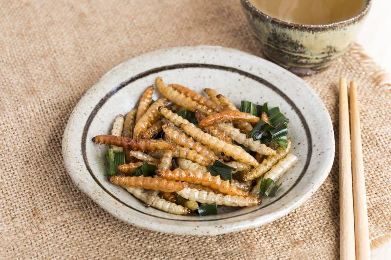 Nahrungsmittelinsekten: Bambus- Wurm briet Bambus-Caterpillar-Insekt knusperiges für an essen als Nahrungsmittel in der Platte mi stockbild