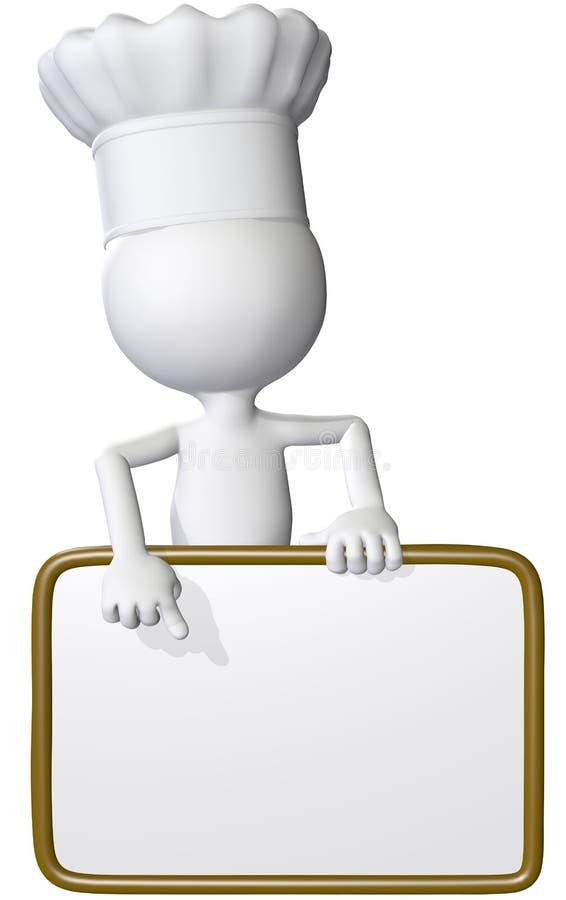 Nahrungsmittelkoch zeigt Gaststättemenüzeichen vektor abbildung