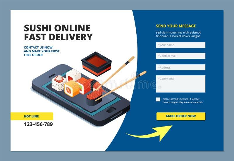Nahrungsmittellandung Sushimeeresfrüchteon-line-Restaurantmenüauftragswebsite-Formularaufbau bewegliche Appvektorschablone vektor abbildung