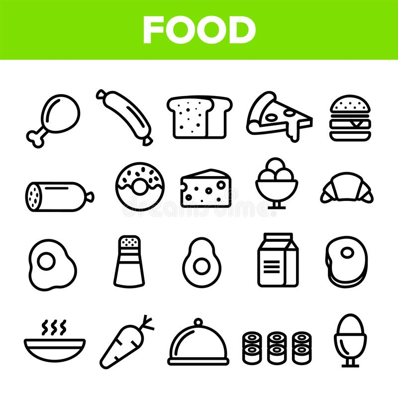 Nahrungsmittellinie Ikonen-Satz-Vektor Hauptküchen-Frühstücksnahrungs-Ikonen Menü-Piktogramm Fesh, das Element isst Dünnes Entwur stock abbildung
