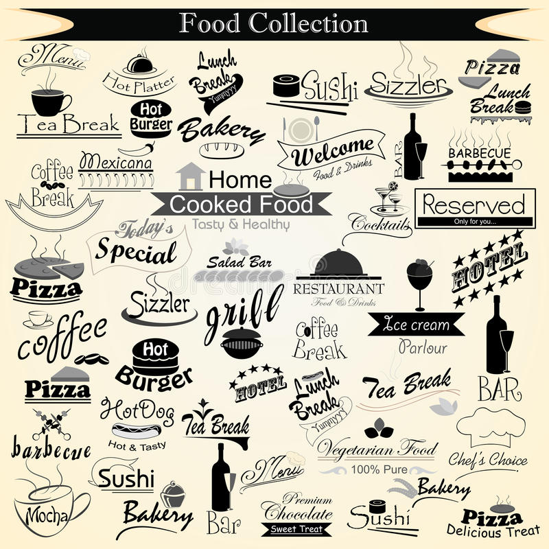Nahrungsmittelmenü-Kalligraphie stock abbildung