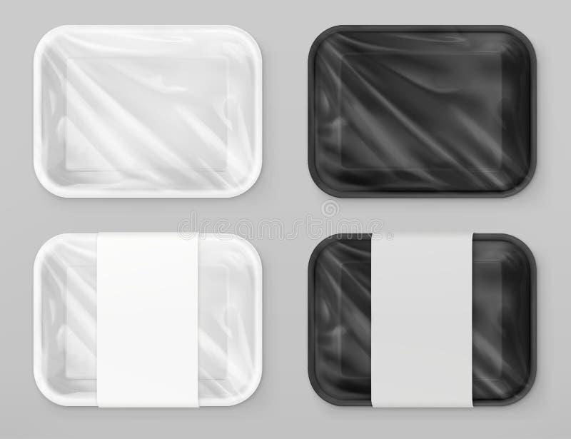 Nahrungsmittelpolystyren verpackend, weiß und schwarz realistisches Modell des Vektors 3d stock abbildung