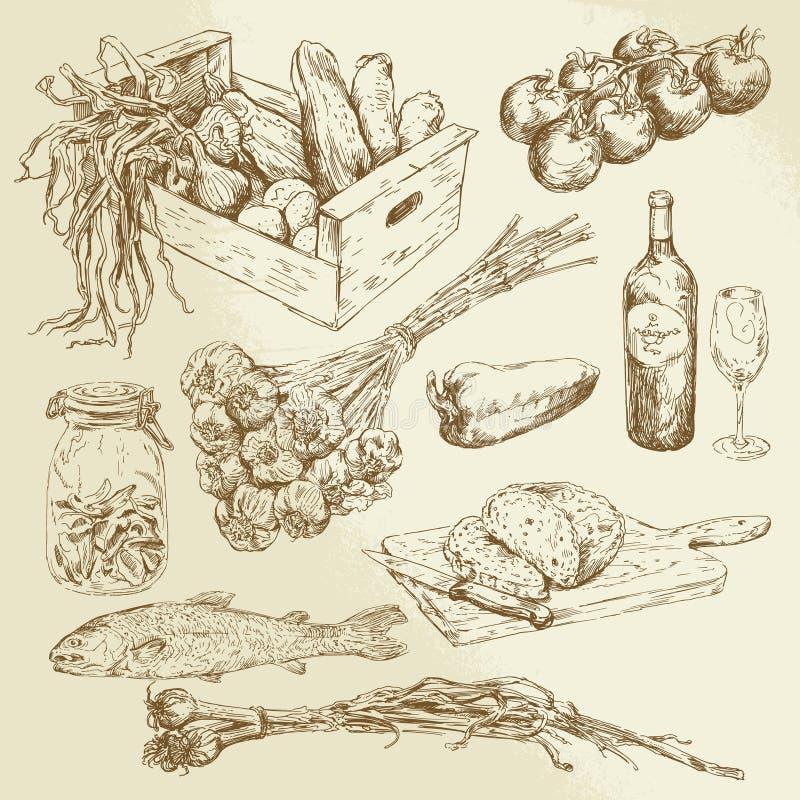Lebensmittelsammlung lizenzfreie abbildung