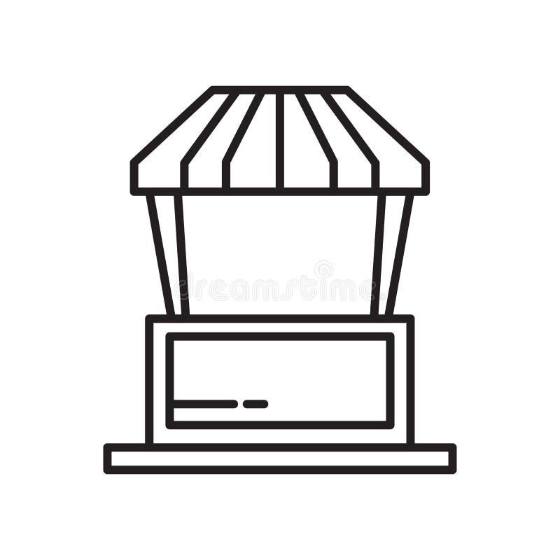 Nahrungsmittelstandikonenvektorzeichen und -symbol lokalisiert auf weißem Hintergrund, Nahrungsmittelstand-Logokonzept lizenzfreie abbildung