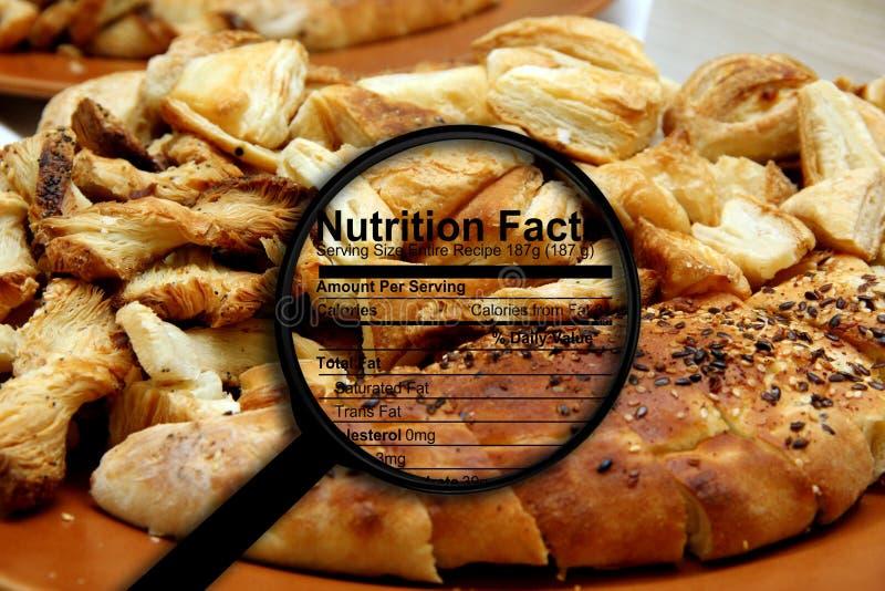 Nahrungstatsachen auf Brot stockfotos