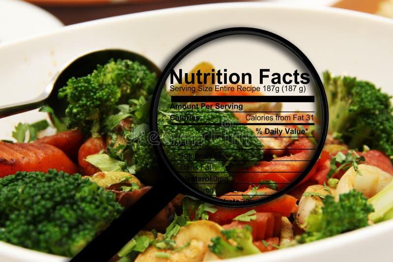 Nahrungstatsachen auf frischem Salat lizenzfreie stockfotos