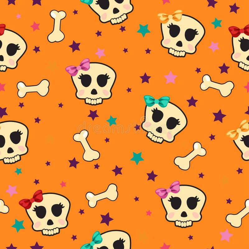Nahtlos mit den Knochen und Schädel bezaubernd lizenzfreie abbildung