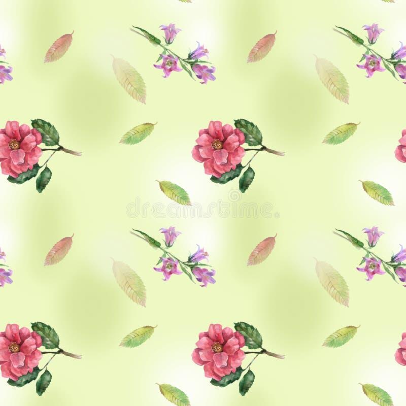 Nahtlos mit Rosen und Glocke vektor abbildung
